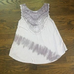 Maurices Purple Ombré Embroidered Tank Top, Size M